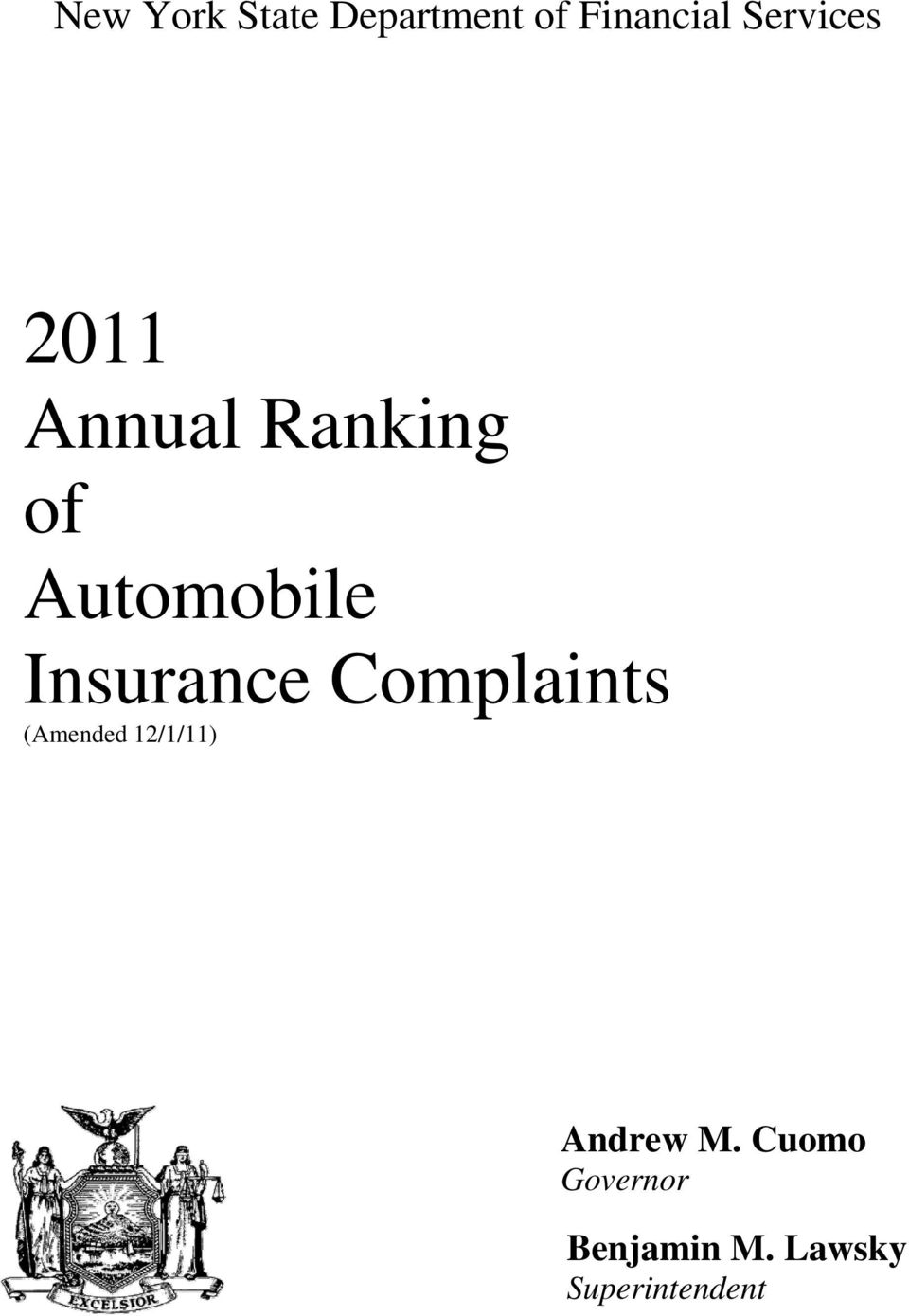 Insurance Complaints (Amended 12/1/11)