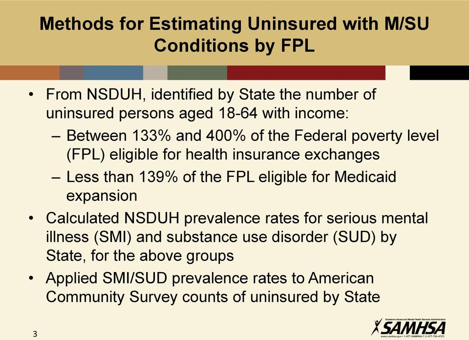 of the FPL eligible for Medicaid expansion Calculated NSDUH prevalence rates for serious mental illness (SMI) and substance use