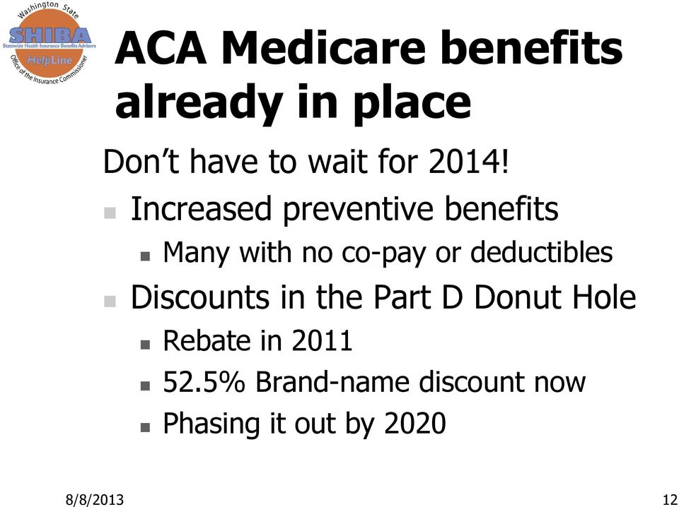 deductibles Discounts in the Part D Donut Hole Rebate in 2011