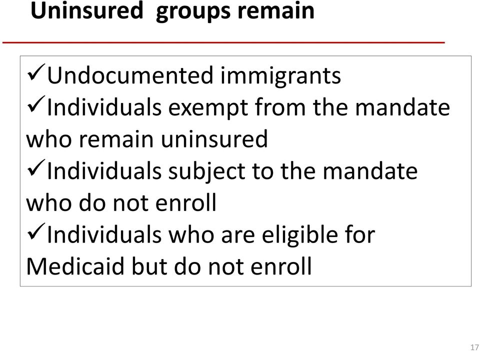 uninsured Individuals subject to the mandate who do