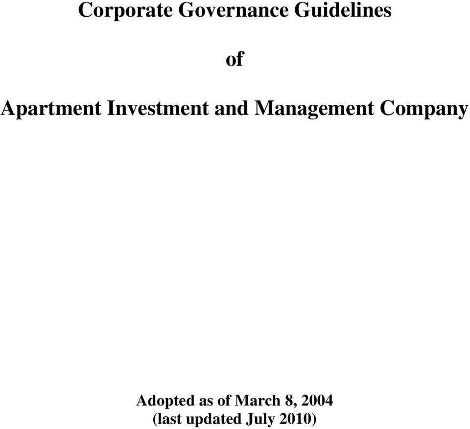 Management Company Adopted as of
