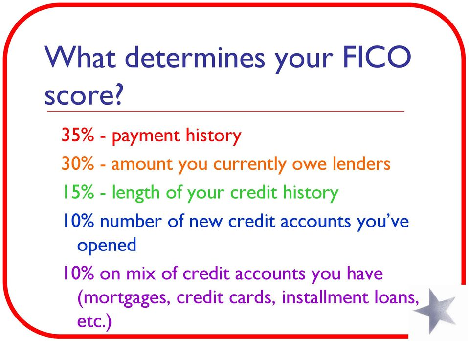 length of your credit history 10% number of new credit accounts
