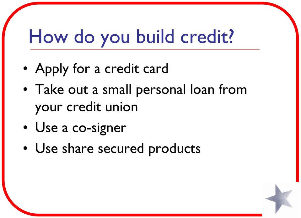 small personal loan from your credit