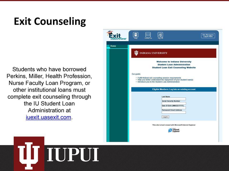other institutional loans must complete exit counseling