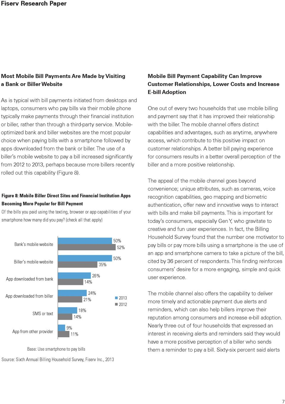 Mobileoptimized bank and biller websites are the most popular choice when paying bills with a smartphone followed by apps downloaded from the bank or biller.
