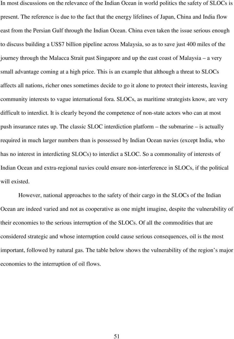 China even taken the issue serious enough to discuss building a US$7 billion pipeline across Malaysia, so as to save just 400 miles of the journey through the Malacca Strait past Singapore and up the