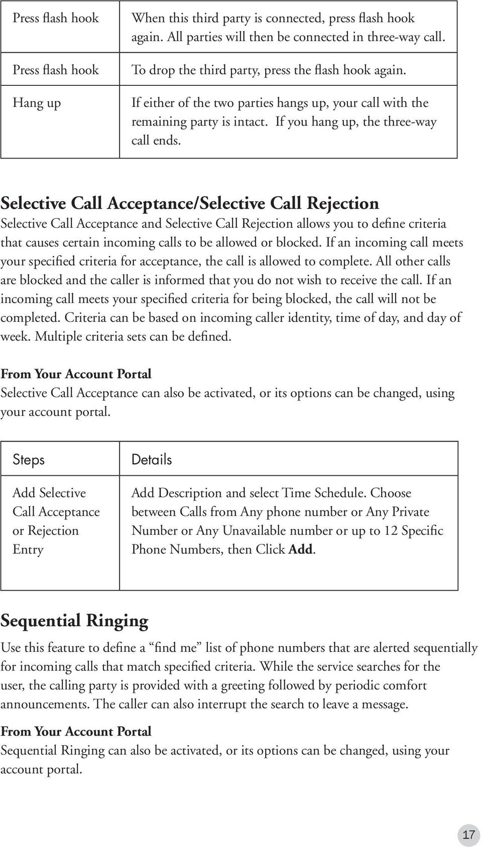 Selective Call Acceptance/Selective Call Rejection Selective Call Acceptance and Selective Call Rejection allows you to define criteria that causes certain incoming calls to be allowed or blocked.