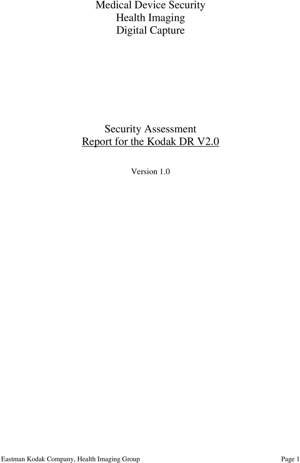 Report for the Kodak DR V2.0 Version 1.