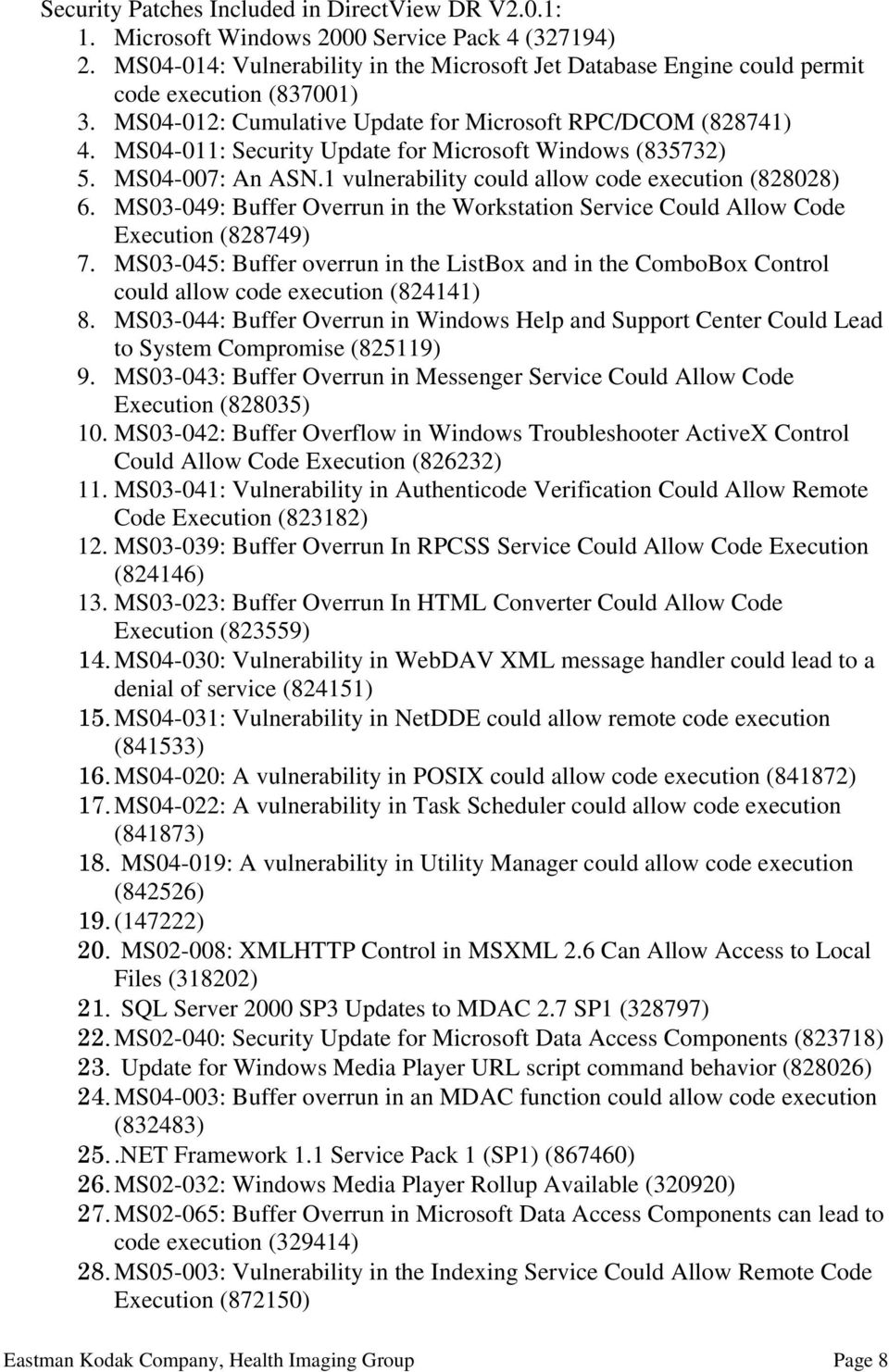 MS04-011: Security Update for Microsoft Windows (835732) 5. MS04-007: An ASN.1 vulnerability could allow code execution (828028) 6.