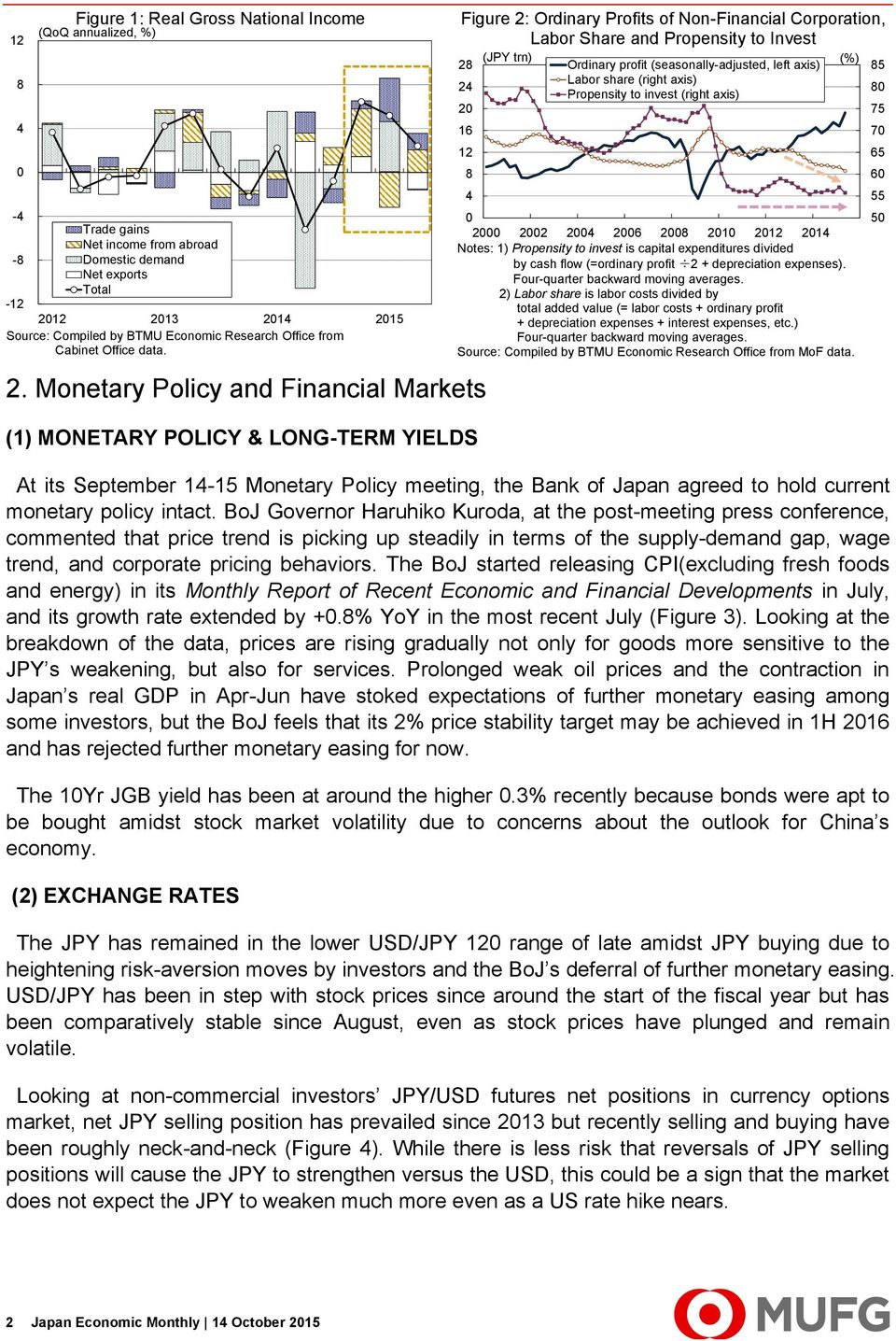 Monetary Policy and Financial Markets (1) MONETARY POLICY & LONG-TERM YIELDS At its September 1-15 Monetary Policy meeting, the Bank of Japan agreed to hold current monetary policy intact.