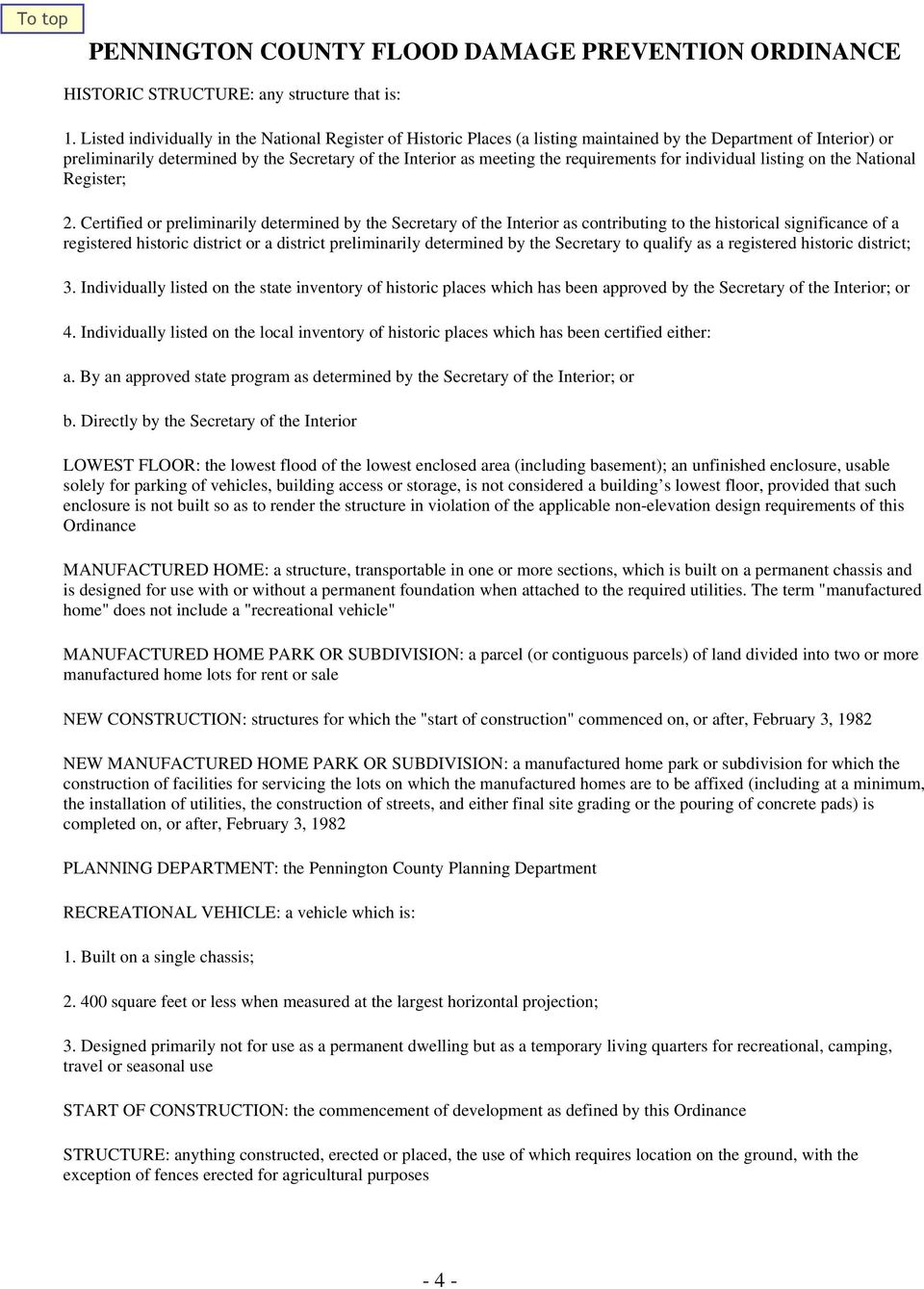 requirements for individual listing on the National Register; 2.
