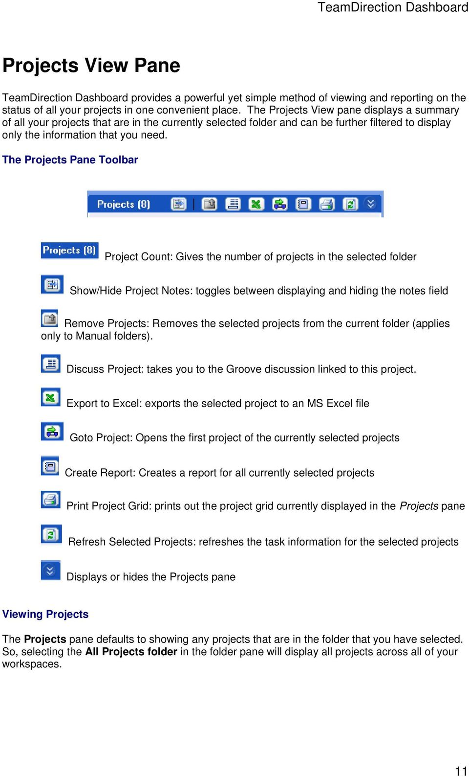 The Projects Pane Toolbar Project Count: Gives the number of projects in the selected folder Show/Hide Project Notes: toggles between displaying and hiding the notes field Remove Projects: Removes