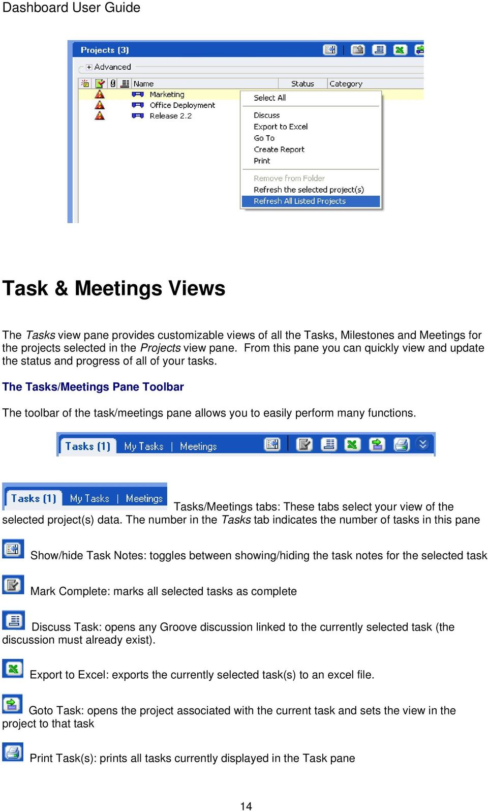 The Tasks/Meetings Pane Toolbar The toolbar of the task/meetings pane allows you to easily perform many functions. Tasks/Meetings tabs: These tabs select your view of the selected project(s) data.