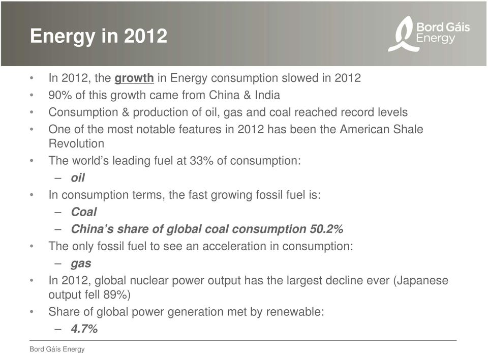 In consumption terms, the fast growing fossil fuel is: Coal China s share of global coal consumption 50.