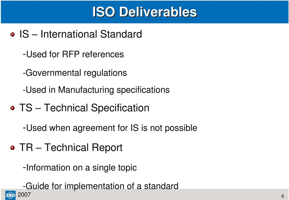 Technical Specification -Used when agreement for IS is not possible TR