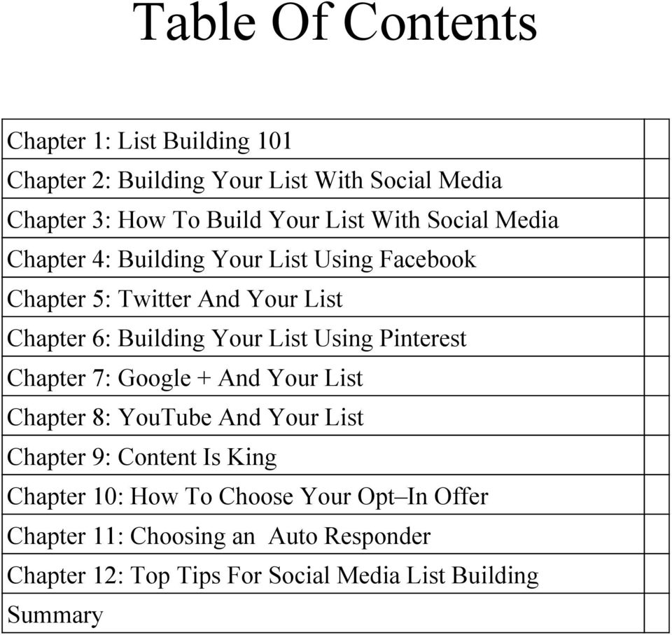List Using Pinterest Chapter 7: Google + And Your List Chapter 8: YouTube And Your List Chapter 9: Content Is King Chapter 10: