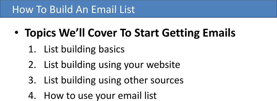 List building using your website 3.