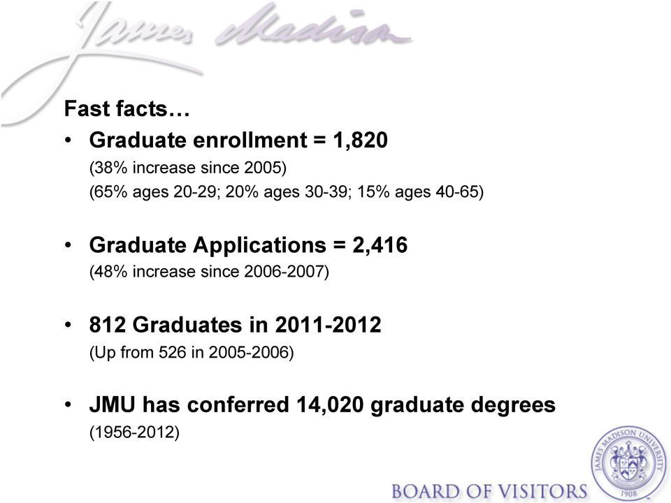 2,416 (48% increase since 2006-2007) 812 Graduates in 2011-2012 (Up