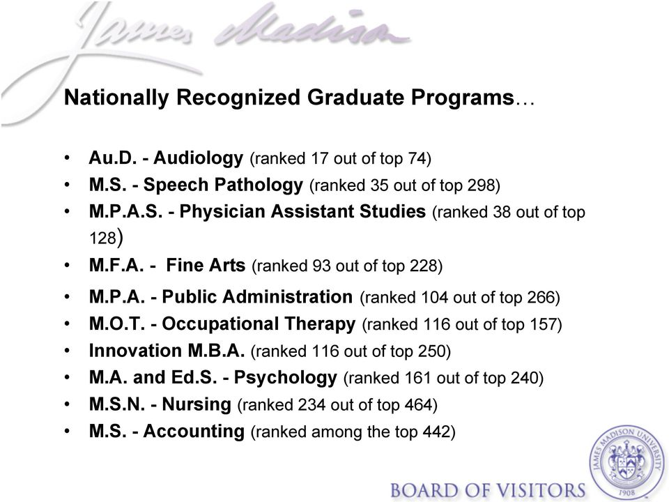 P.A. - Public Administration (ranked 104 out of top 266) M.O.T. - Occupational Therapy (ranked 116 out of top 157) Innovation M.B.A. (ranked 116 out of top 250) M.
