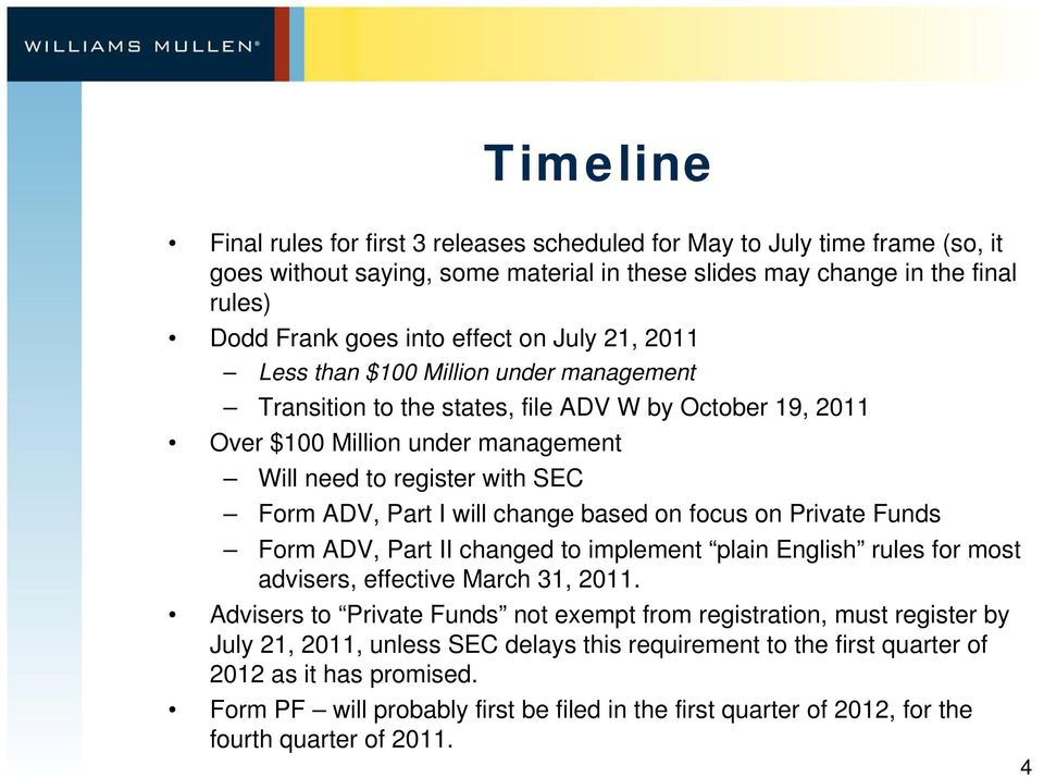 change based on focus on Private Funds Form ADV, Part II changed to implement plain English rules for most advisers, effective March 31, 2011.
