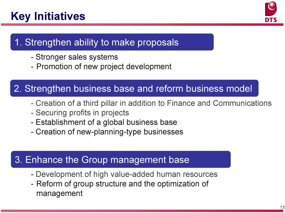 Securing profits in projects - Establishment of a global business base - Creation of new-planning-type businesses 3.