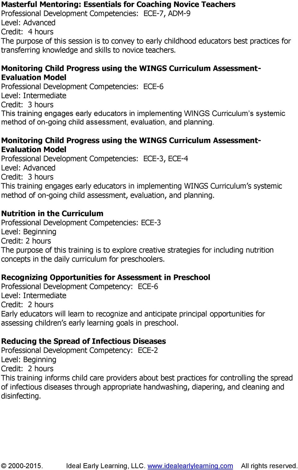 Monitoring Child Progress using the WINGS Curriculum Assessment- Evaluation Model Professional Development Competencies: ECE-6 This training engages early educators in implementing WINGS Curriculum s