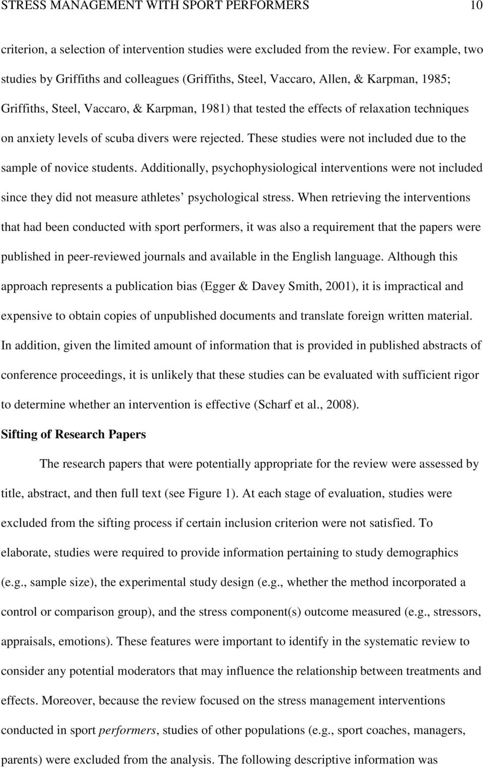 Stress Management With Sport Performers 1 A Systematic Review Of