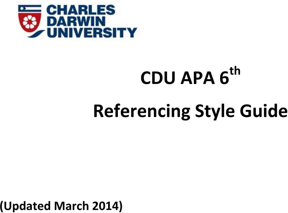 cdu apa 6 th referencing style guide updated march 2014 pdf