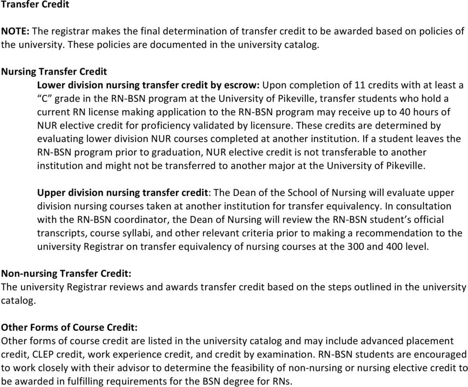 students who hold a current RN license making application to the RN- BSN program may receive up to 40 hours of NUR elective credit for proficiency validated by licensure.