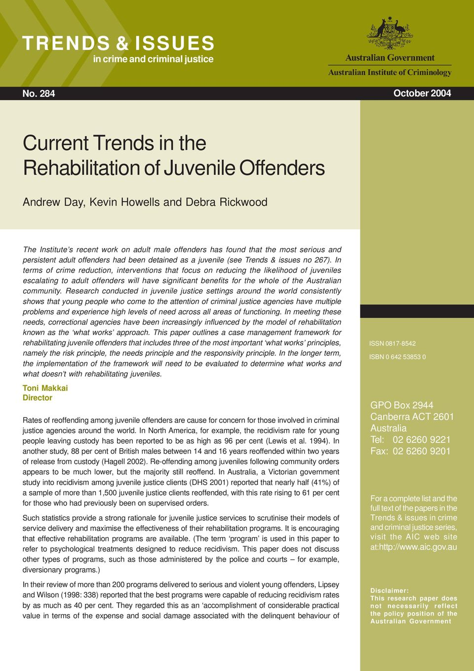 an overview of the issues regarding juvenile offenders and juvenile justice