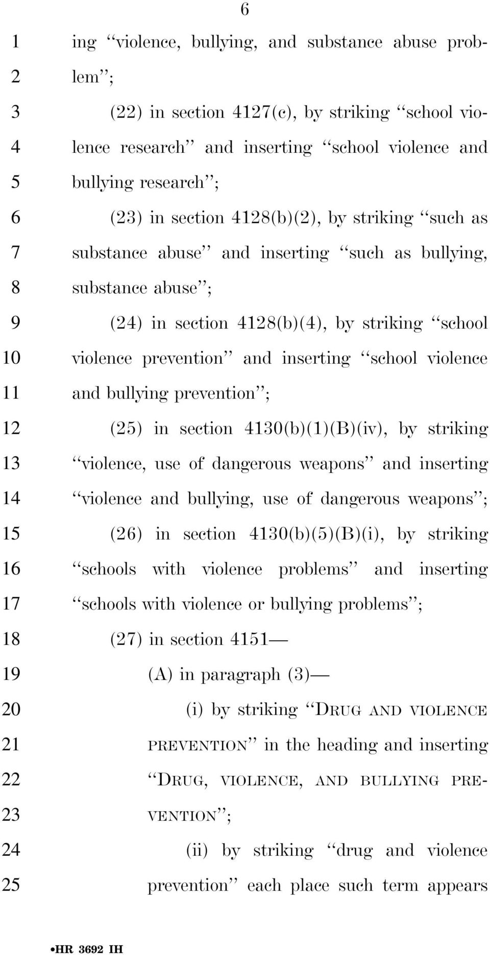 prevention ; () in section (b)(1)(b)(iv), by striking violence, use of dangerous weapons and inserting violence and bullying, use of dangerous weapons ; () in section (b)()(b)(i), by striking schools