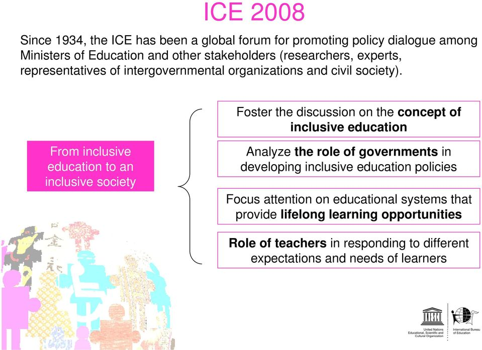 Foster the discussion on the concept of inclusive education From inclusive education to an inclusive society Analyze the role of governments in