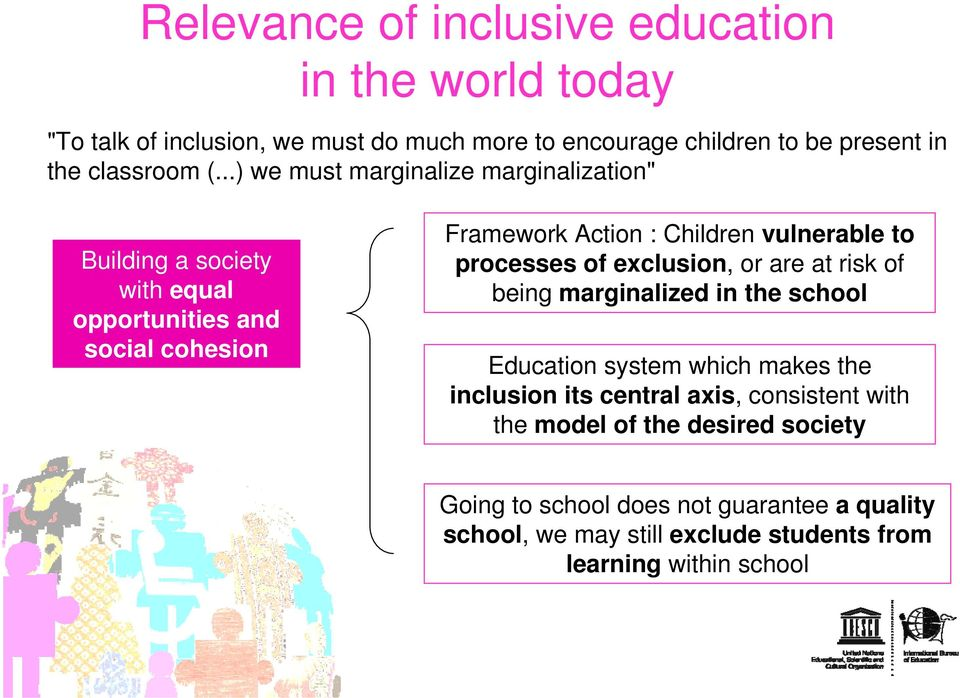 processes of exclusion, or are at risk of being marginalized in the school Education system which makes the inclusion its central axis, consistent