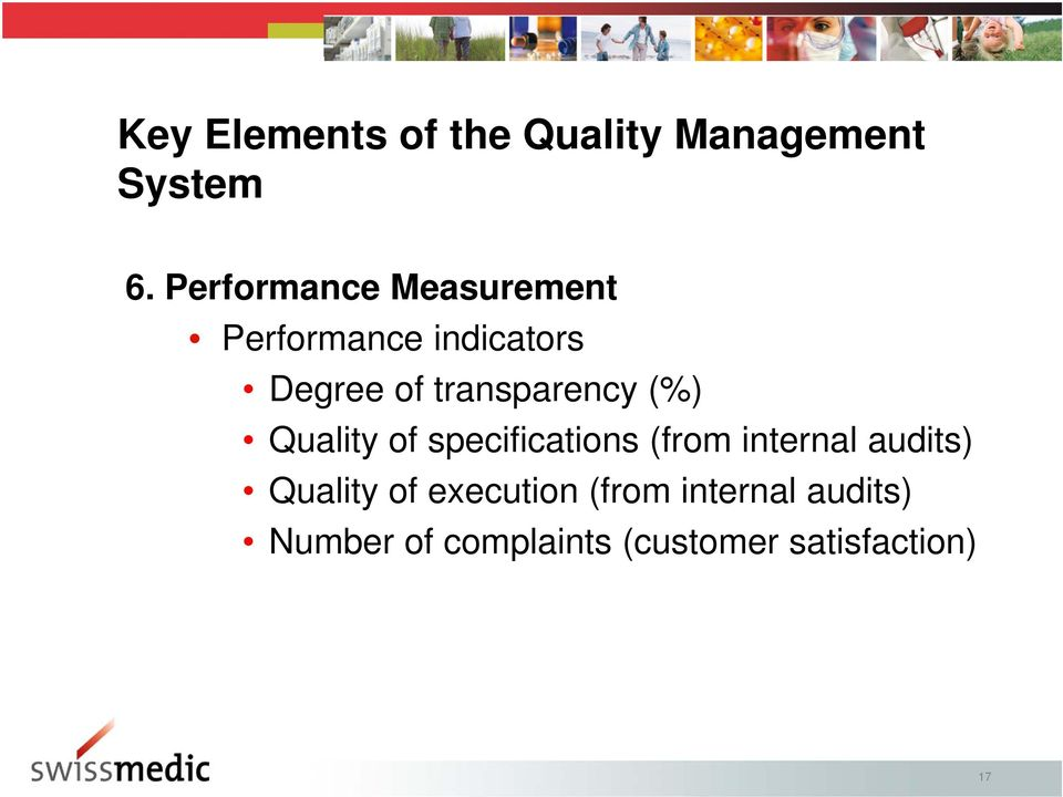 transparency (%) Quality of specifications (from internal audits)