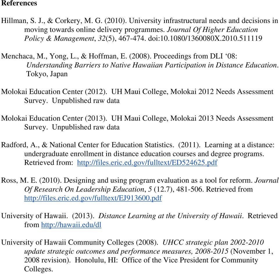 Proceedings from DLI 08: Understanding Barriers to Native Hawaiian Participation in Distance Education. Tokyo, Japan Molokai Education Center (2012).