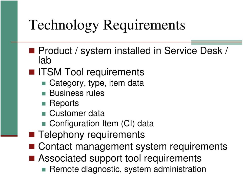 Configuration Item (CI) data Telephony requirements Contact management system
