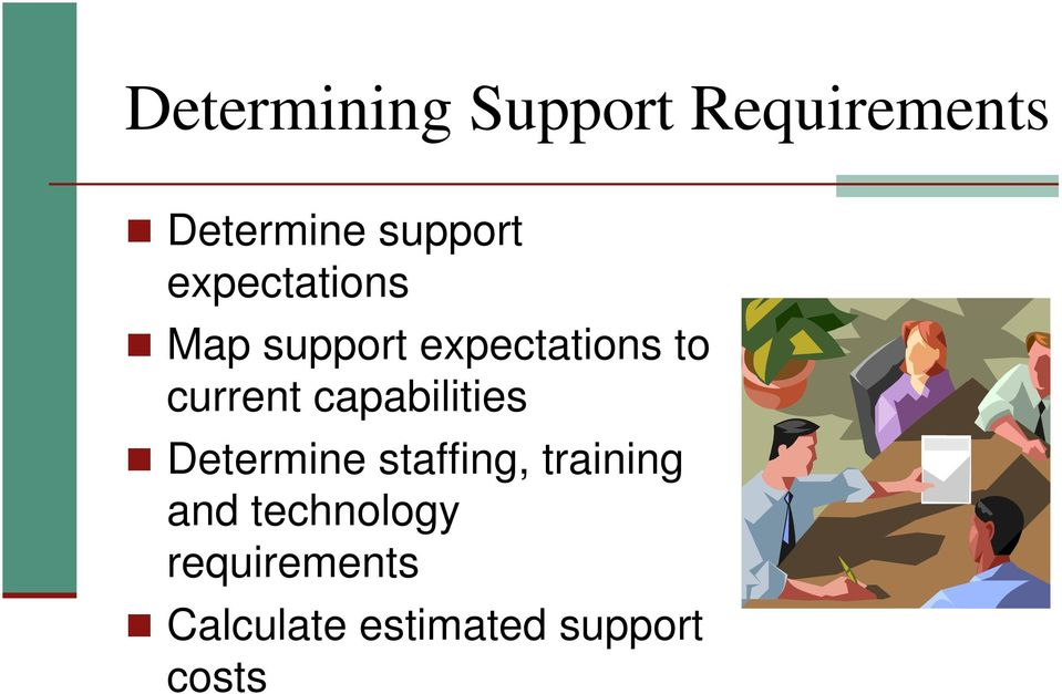capabilities Determine staffing, training and