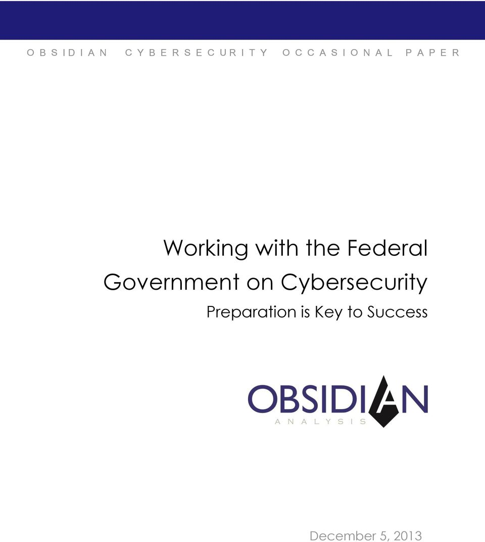 the Federal Government on Cybersecurity