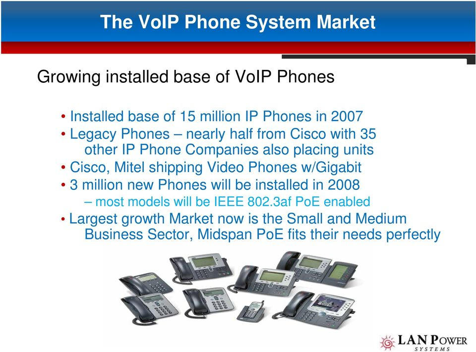 shipping Video Phones w/gigabit 3 million new Phones will be installed in 2008 most models will be IEEE 802.