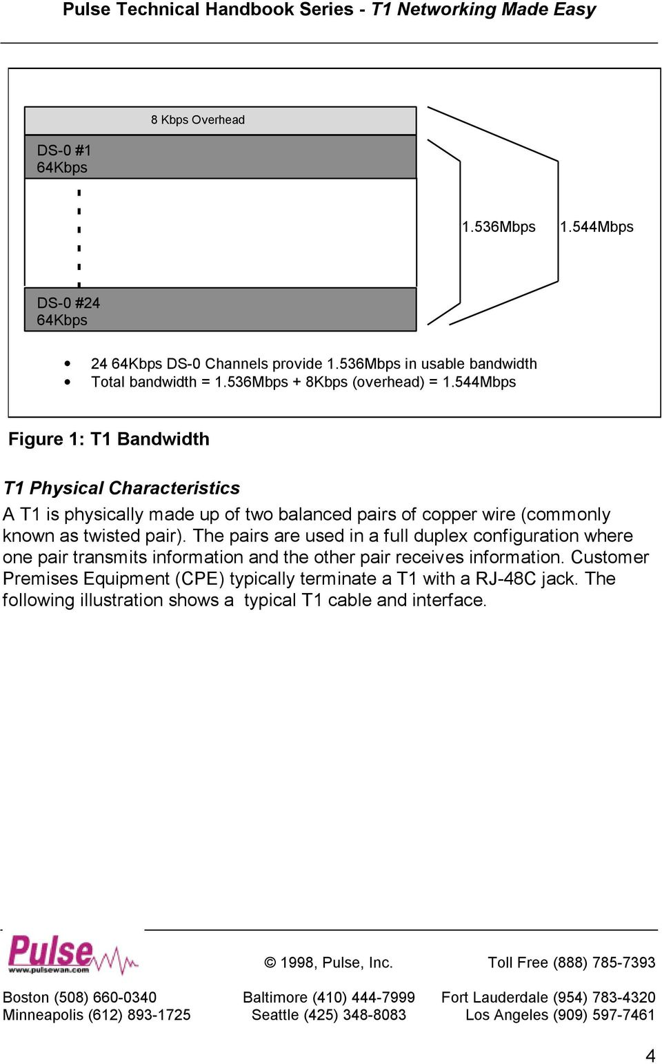 544Mbps Figure 1: T1 Bandwidth T1 Physical Characteristics A T1 is physically made up of two balanced pairs of copper wire (commonly known as twisted