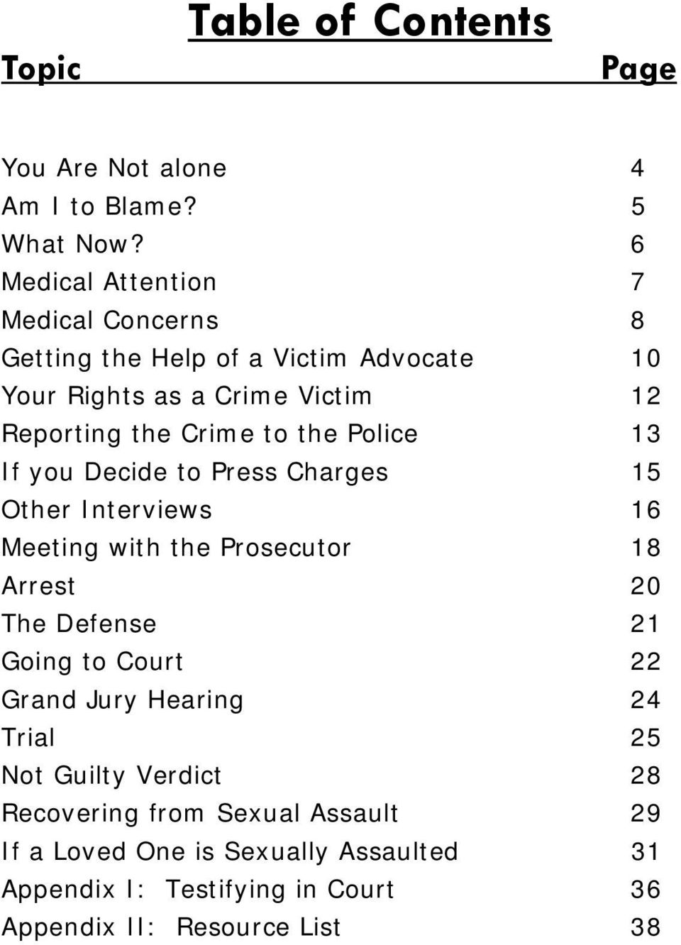 to the Police 13 If you Decide to Press Charges 15 Other Interviews 16 Meeting with the Prosecutor 18 Arrest 20 The Defense 21 Going to