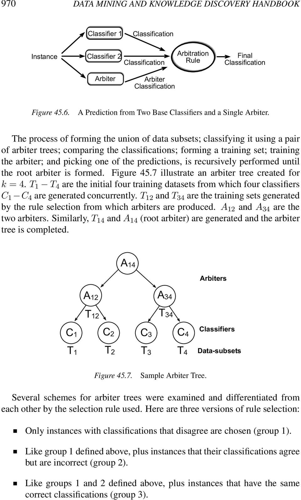 The process of forming the union of data subsets; classifying it using a pair of arbiter trees; comparing the classifications; forming a training set; training the arbiter; and picking one of the
