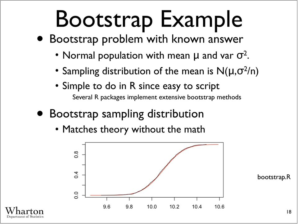 Sampling distribution of the mean is N(μ,σ 2 /n) Simple to do in R since easy