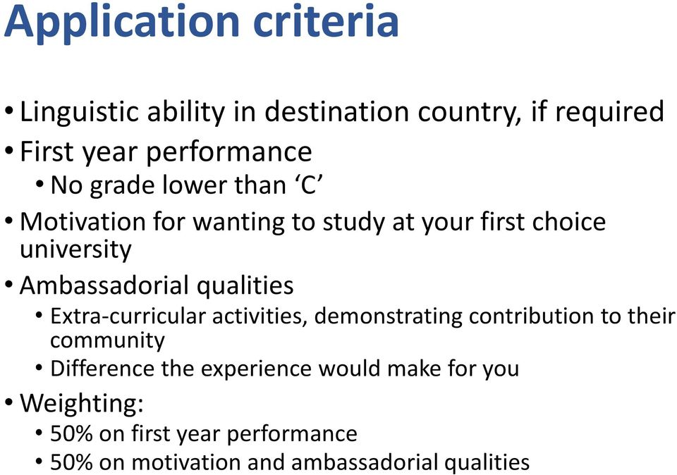 qualities Extra-curricular activities, demonstrating contribution to their community Difference the