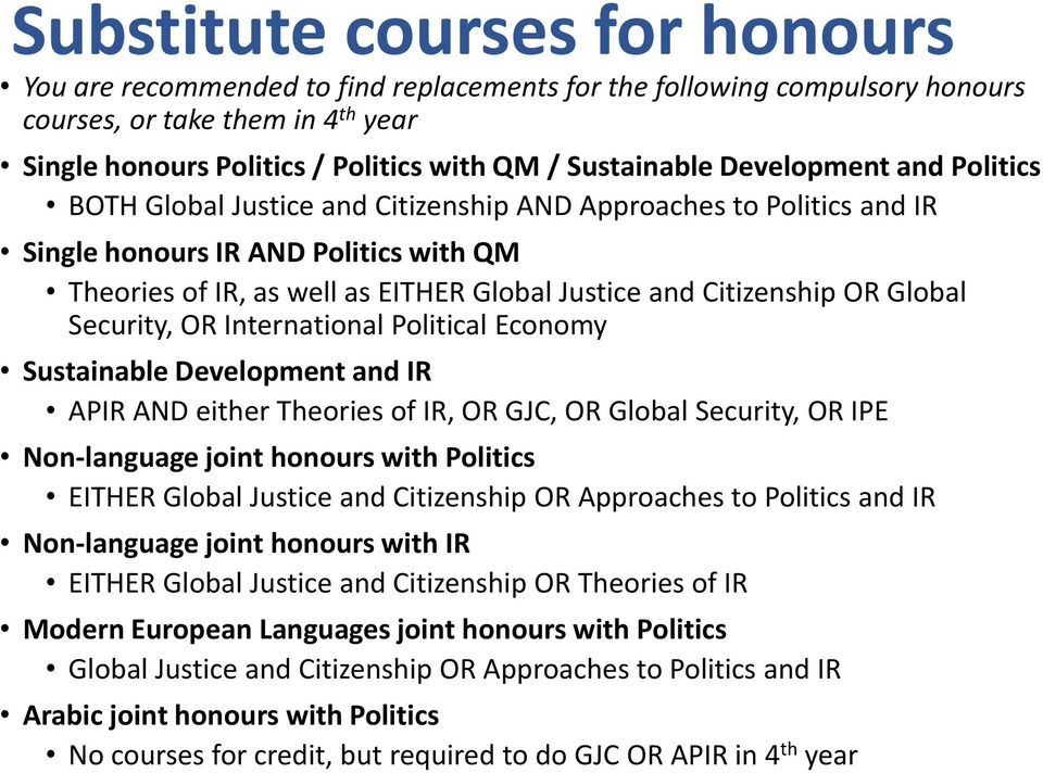 Citizenship OR Global Security, OR International Political Economy Sustainable Development and IR APIR AND either Theories of IR, OR GJC, OR Global Security, OR IPE Non-language joint honours with