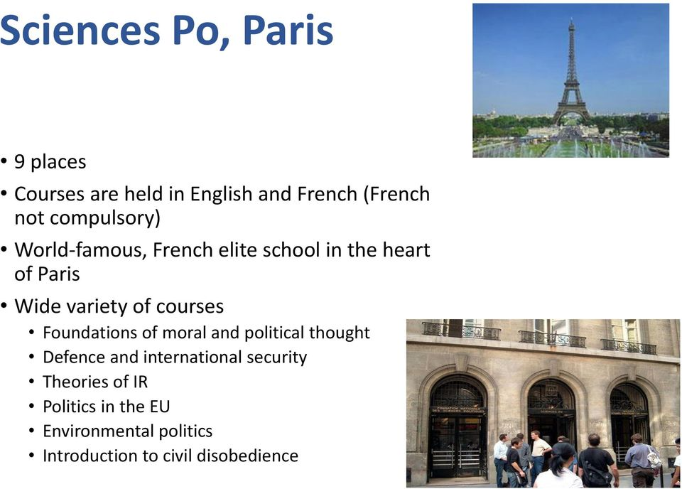 courses Foundations of moral and political thought Defence and international