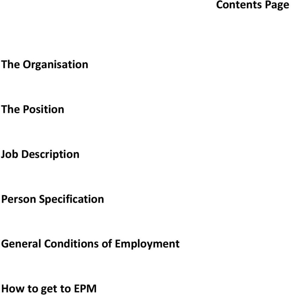 Person Specification General