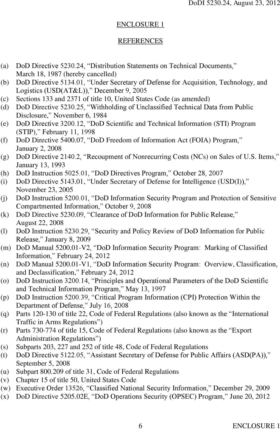 25, Withholding of Unclassified Technical Data from Public Disclosure, November 6, 1984 (e) DoD Directive 3200.