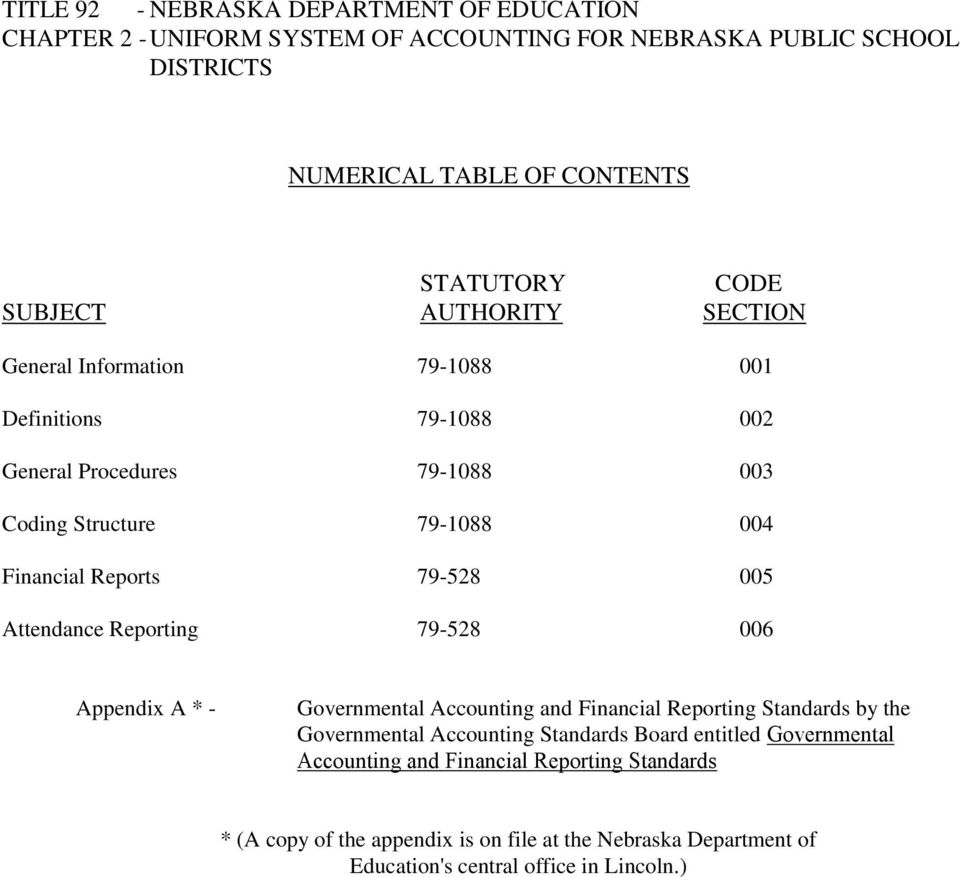 005 Attendance Reporting 79-528 006 Appendix A * - Governmental Accounting and Financial Reporting Standards by the Governmental Accounting Standards Board