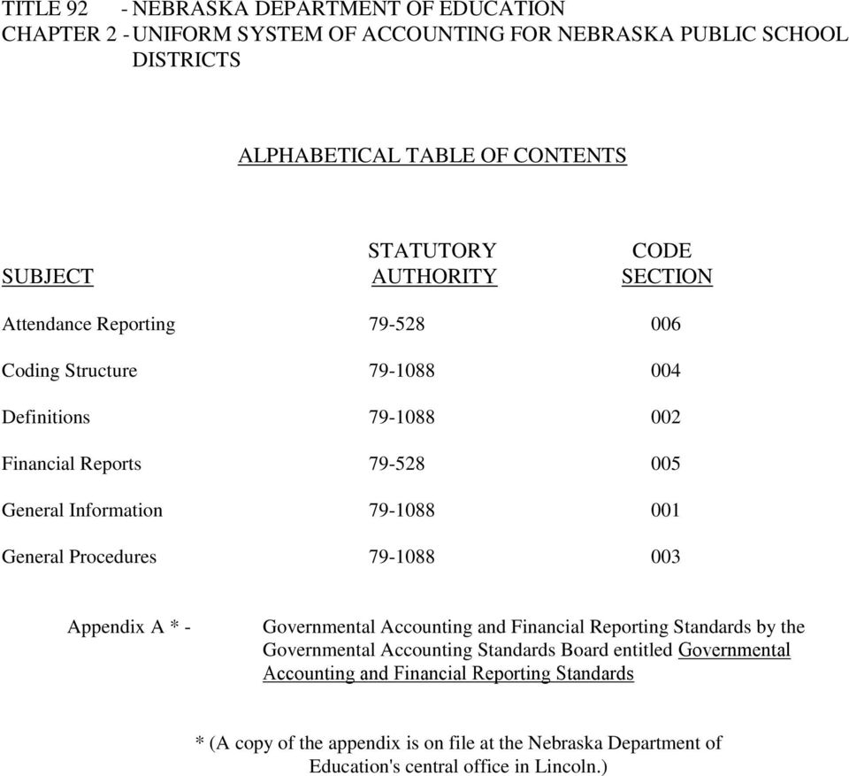 001 General Procedures 79-1088 003 Appendix A * - Governmental Accounting and Financial Reporting Standards by the Governmental Accounting Standards Board